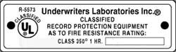 UL class 350 label